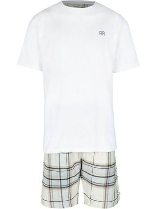 MEN Stone check woven pyjama set