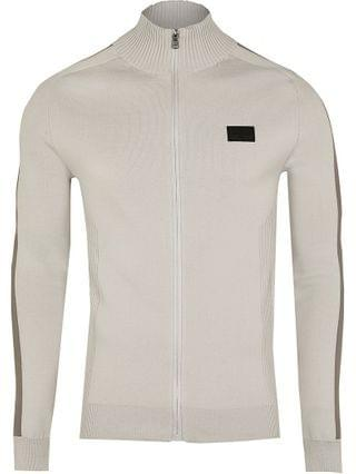 MEN Maison Riviera grey funnel neck jumper