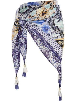 WOMEN Plus blue floral print beach sarong