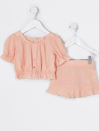 KIDS Mini girls pink check print outfit