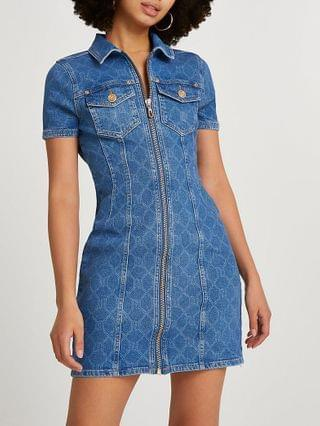 WOMEN Blue RI monogram denim mini shirt dress