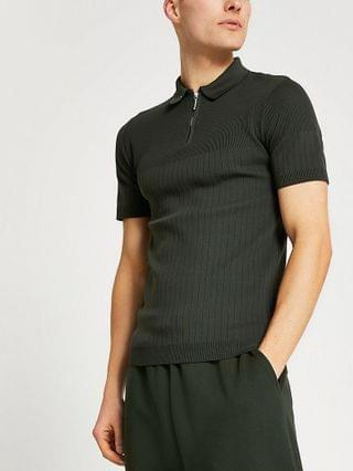 MEN Khaki ribbed knitted muscle fit polo shirt