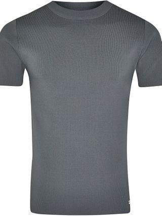 MEN Grey premium knitted slim fit t-shirt