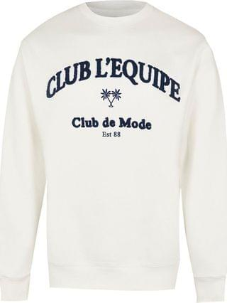 MEN White 'Club L'Equipe' Sweatshirt