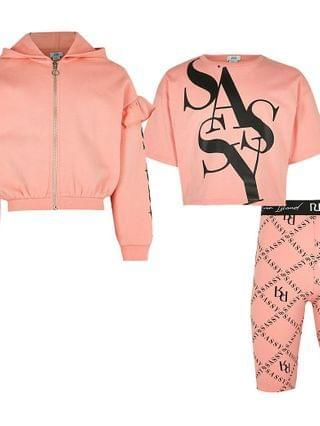 KIDS Age 13+ girls pink 'Sassy' 3 piece outfit