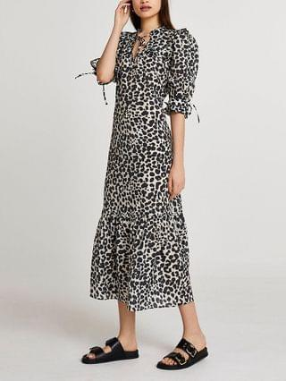 WOMEN Black animal print smock dress