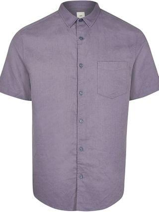 MEN Blue linen short sleeve shirt