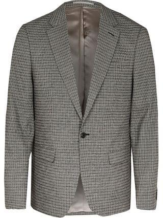 MEN Grey check skinny fit suit jacket