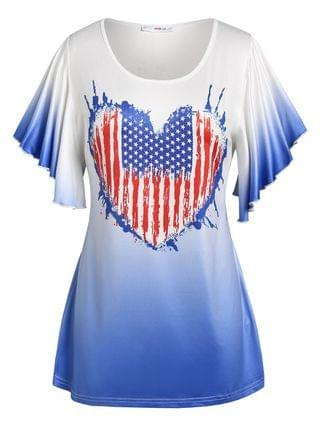 WOMEN Plus Size American Flag Print Ombre Color Tee