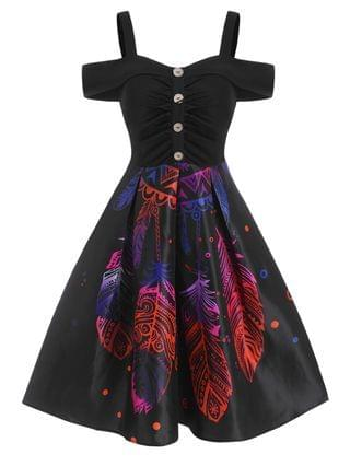 WOMEN Feather Printed Button Cold Shoulder Dress