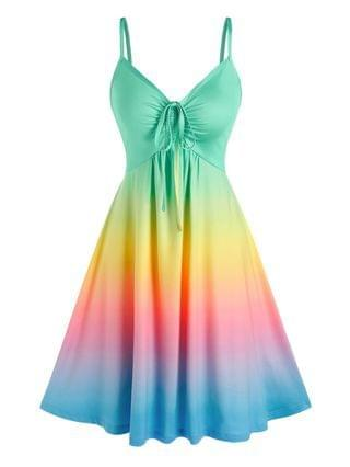 WOMEN Rainbow Color Gradient Slip Dress