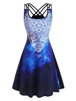 WOMEN Splatter Paint Galaxy Printed Strappy Back Dress
