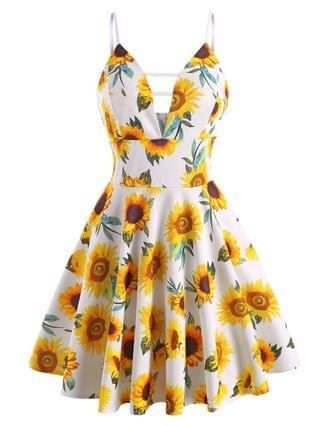 WOMEN Sunflower Plunge Front Empire Waist Dress
