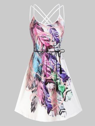 WOMEN Strappy Feather Print Belted Dress