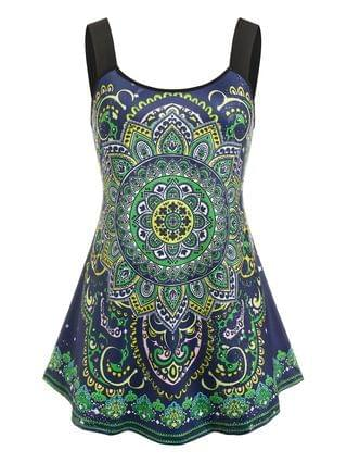 WOMEN Plus Size Ethnic Print Tent Tank Top