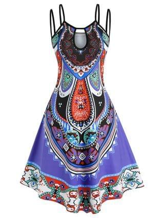 WOMEN Plus Size Keyhole Tribal Pattern Dual Strap Cami Dress