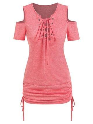 WOMEN Lace Up Cold Shoulder Cinched Tee