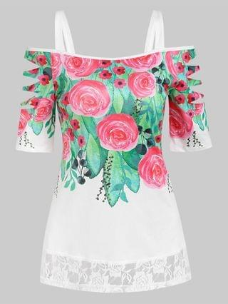 WOMEN Cold Shoulder Flower Print Lace Insert Ripped T-shirt