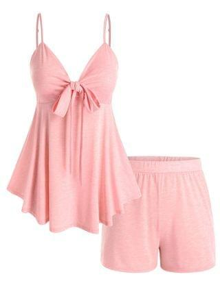 WOMEN Plus Size Front Knot Top and Shorts Pajamas Set