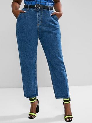 WOMEN Plus Size Trapeze Solid Mom Jeans
