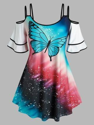 WOMEN Plus Size Butterfly Print Cold Shoulder Tee