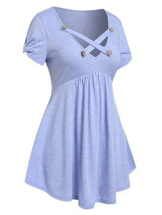 WOMEN Plus Size Skirted Criss Cross Knotted Sleeve T-shirt