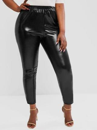 WOMEN Plus Size Coated Wet Look Leggings