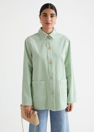WOMEN Relaxed Patch Pocket Corduroy Jacket