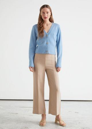 WOMEN Cropped Press Crease Lyocell Trousers
