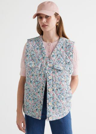 WOMEN Buttoned Padded Floral Print Vest