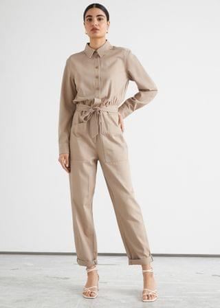 WOMEN Belted Buttoned Patch Pocket Jumpsuit