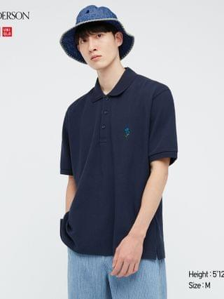 MEN flower embroidery short-sleeve polo shirt (JW Anderson)