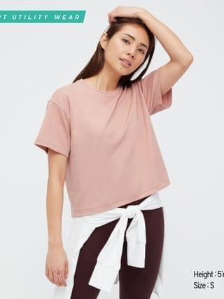 WOMEN DRY-EX cropped crew neck short-sleeve t-shirt