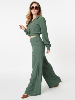 WOMEN Collectif Retro Green Wide Leg Victoria Pants