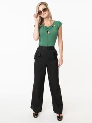 WOMEN Voodoo Vixen Black Bow Pocket Patty Pants