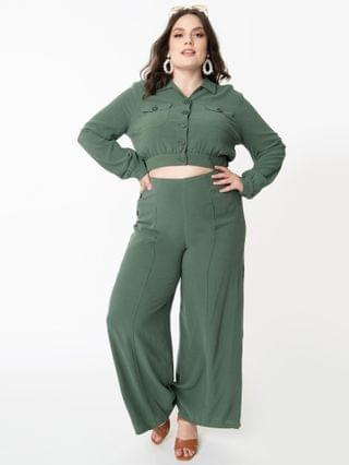 WOMEN Collectif Plus Size Retro Green Wide Leg Victoria Pants