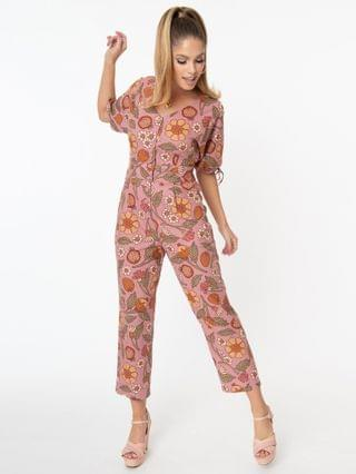 WOMEN 1970s Pink Fruits & Floral Print Cropped Jumpsuit