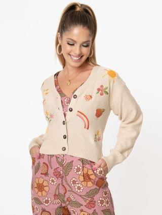 WOMEN Beige & Autumn Picnic Embroidery Knit Cardigan