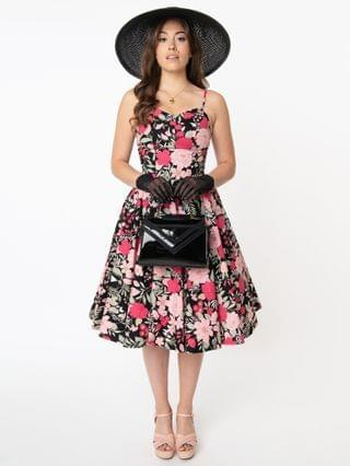 WOMEN Magnolia Place 1950s Black & Pink Floral Ray Swing Dress