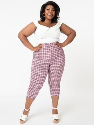 WOMEN Unique Vintage Plus Size Pink & Black Plaid Rachelle Capri Pants