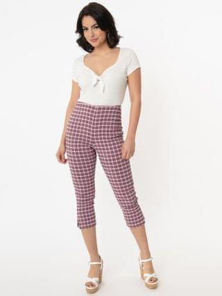WOMEN Unique Vintage Pink & Black Plaid Rachelle Capri Pants