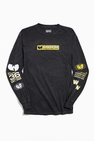 MEN Wu Wear UO Exclusive Multi Logo Print Long Sleeve Tee
