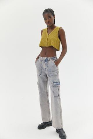 WOMEN BDG High-Waisted Skate Jean Pink Acid Wash