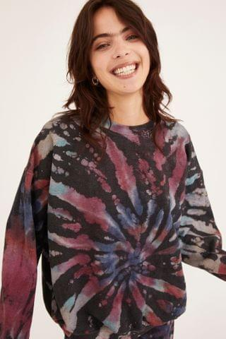 WOMEN Urban Renewal Recycled Rainbow Crackle Tie-Dye Sweatshirt