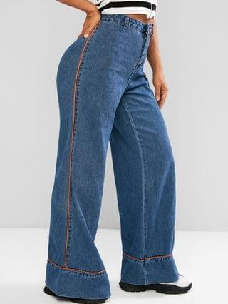 WOMEN Contrast Piping High Waisted Bell Bottom Jeans - Blue M