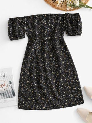 WOMEN Ties Open Back Off Shoulder Ditsy Floral Dress - Black S