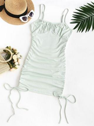 WOMEN Plus Size Rib-knit Cinched Ruched Slinky Bodycon Cami Dress - Light Green 5xl