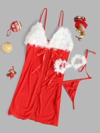 WOMEN Faux Feather Handcuffs Christmas Lingerie Babydoll - Red