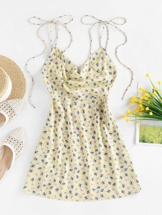 WOMEN Ditsy Print Backless Cowl Front Dress - Light Yellow L