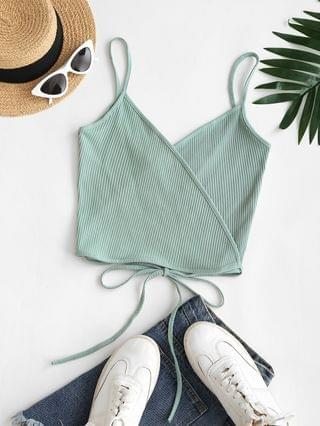 WOMEN Ribbed Straps Wrap Crop Cami Top - Green M
